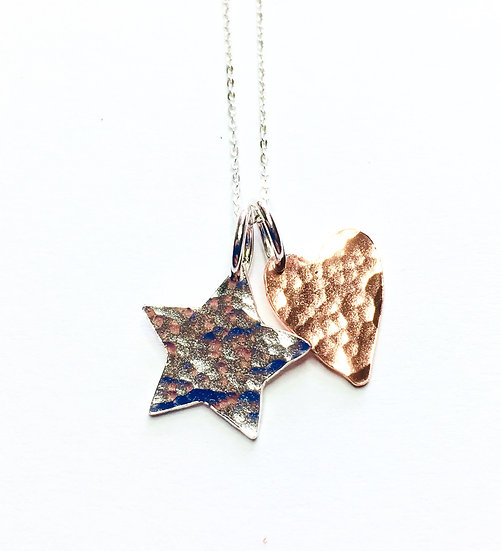 Star and Heart Duo Charm Pendant in Silver & Copper
