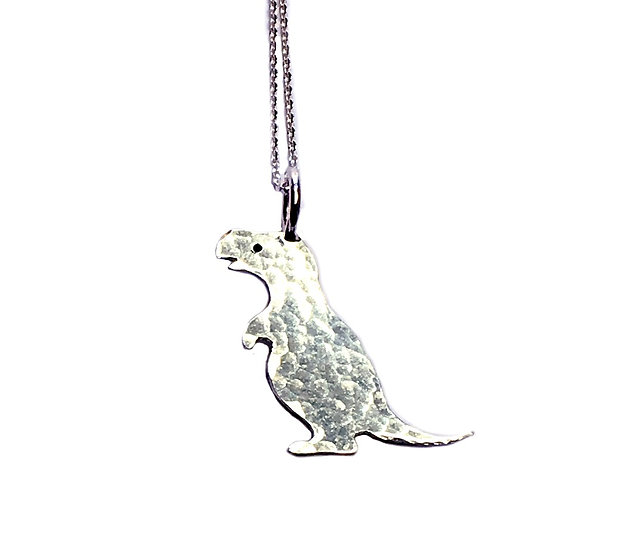 Hammered Silver Dinosaur Pendant - T-Rex