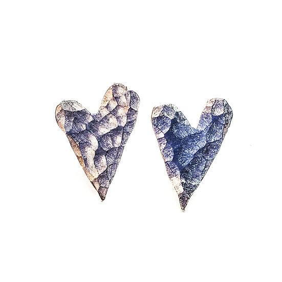 Hammered Silver Heart Stud Earrings