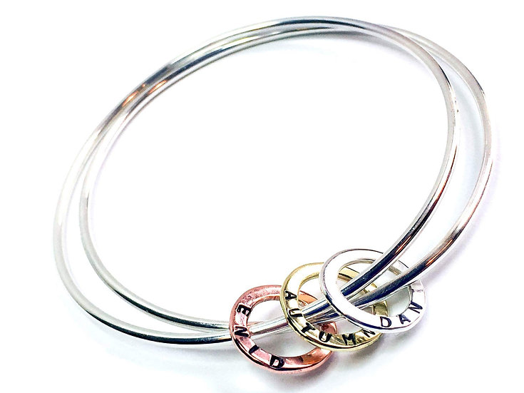 Duo Bangle with Personalised Hoops