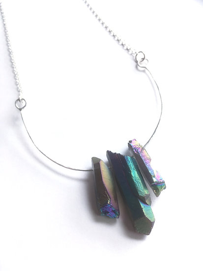 Rainbow Quartz Points Silver Necklace