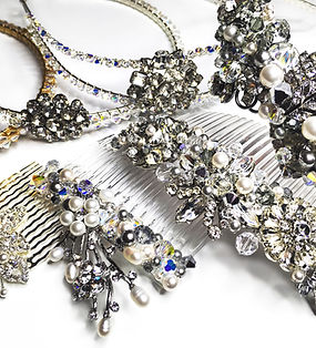 Collection of bridal millinery, jewelled combs and headbands, hair accessories, vintage and contemporary with Swarovski crystals