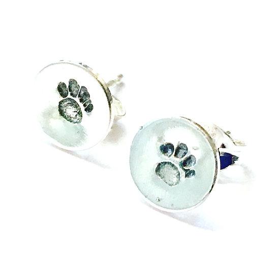 Tiny Embossed Paw Print Stud Earrings