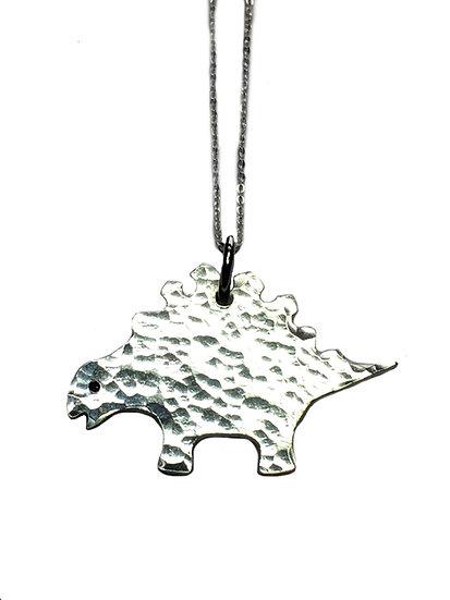 Hammered Silver Dinosaur Pendant - Stegosaurus
