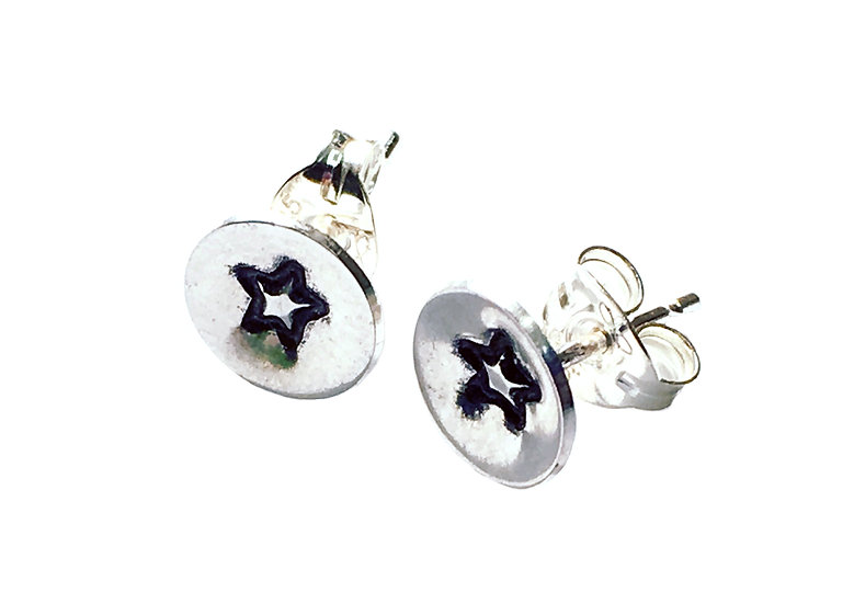 Tiny Embossed Silver Star Studs
