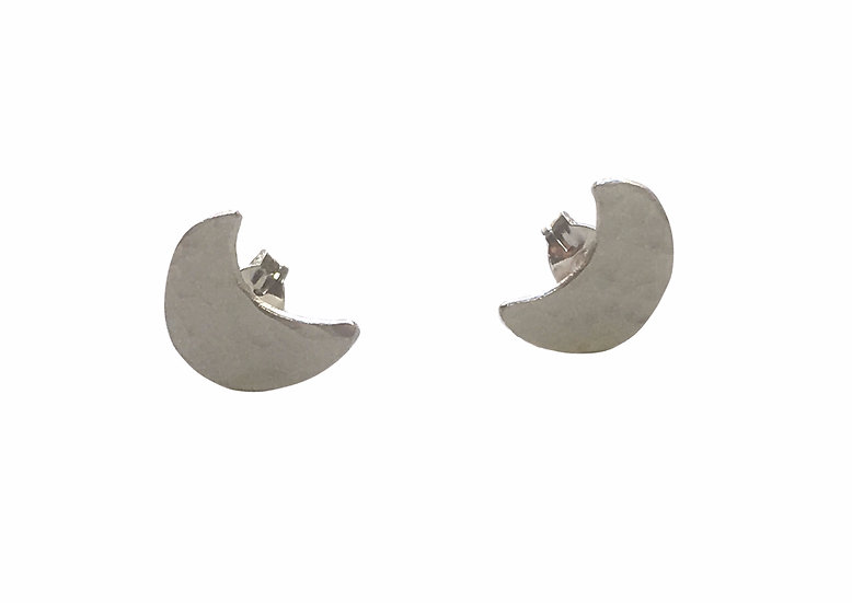 Crescent Moon Hammered Silver Studs