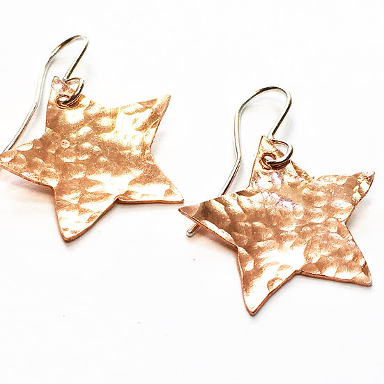 Hammered copper star dangle earrings
