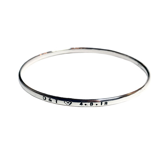 Personalised Initials and Date Silver Bangle