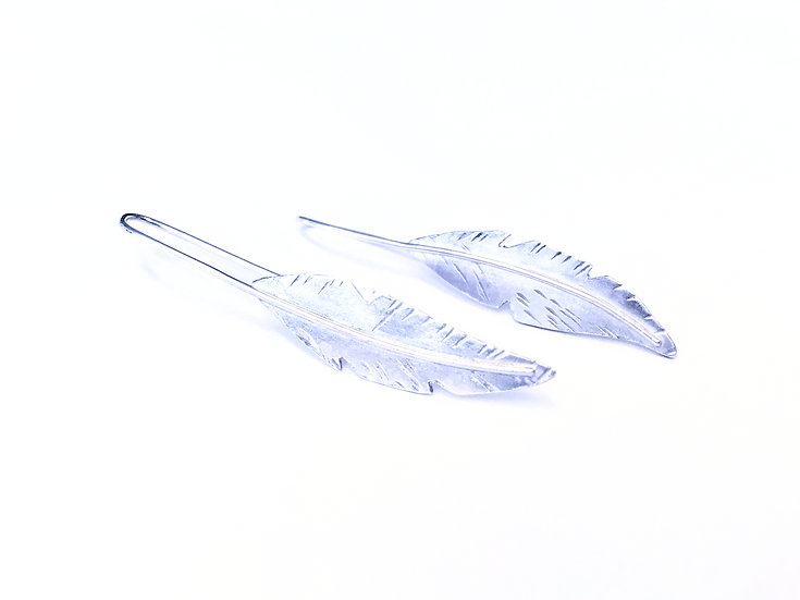 Feather Earrings Sterling Silver