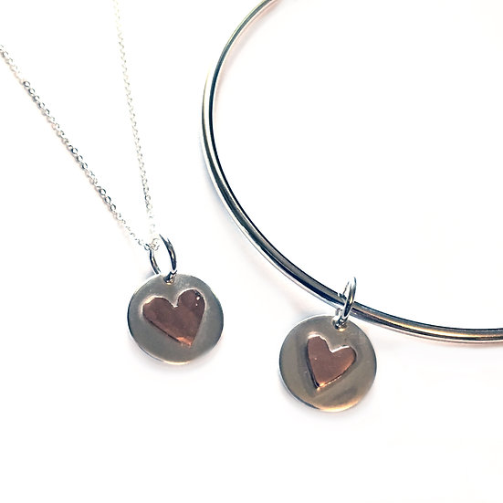 Silver Circle with Copper Hammered Heart Bangle