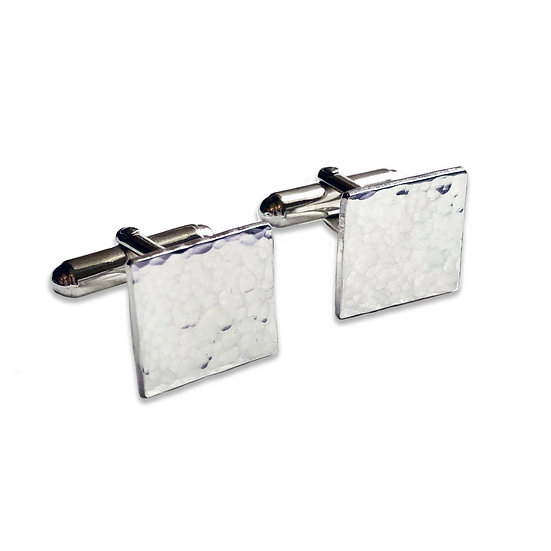 Hammered Silver Square Cufflinks