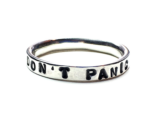 DON'T PANIC Sterling Silver Unisex Ring