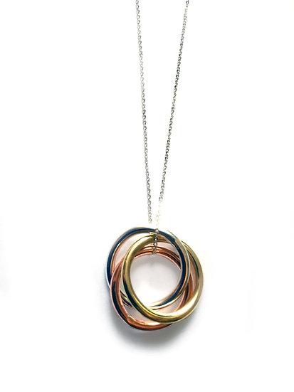 Interlocking Rings Pendant Mixed Metals