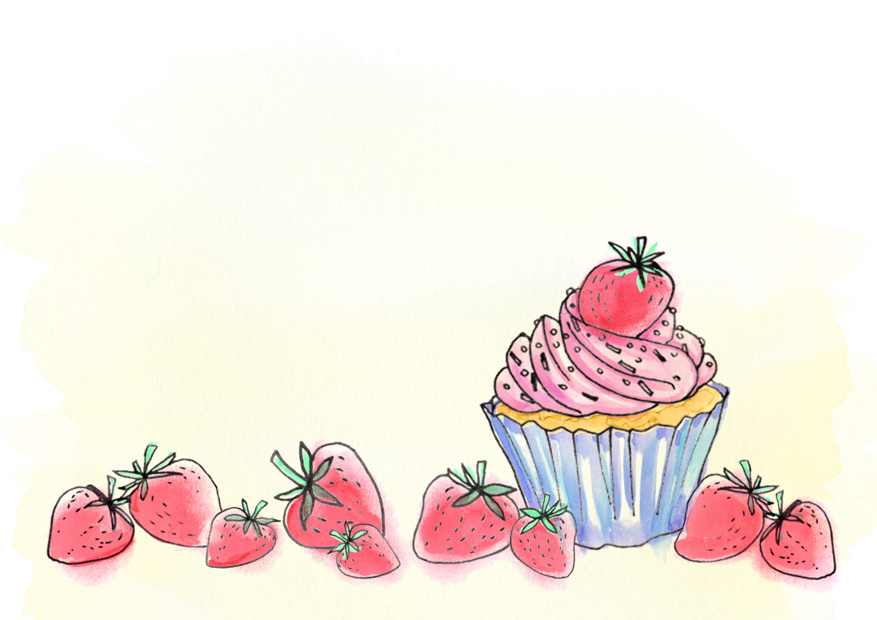 strawberries and cake