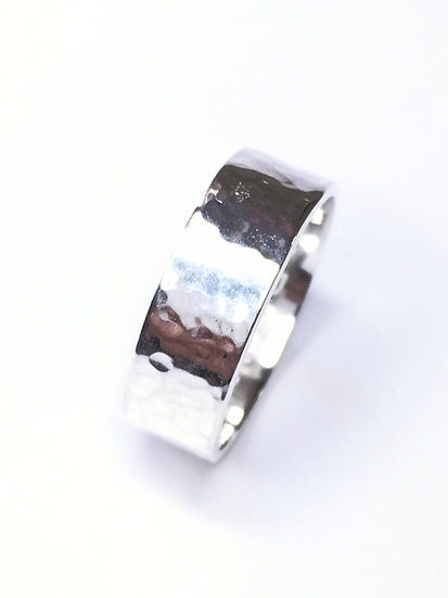 Flat Band Hammered Silver Ring