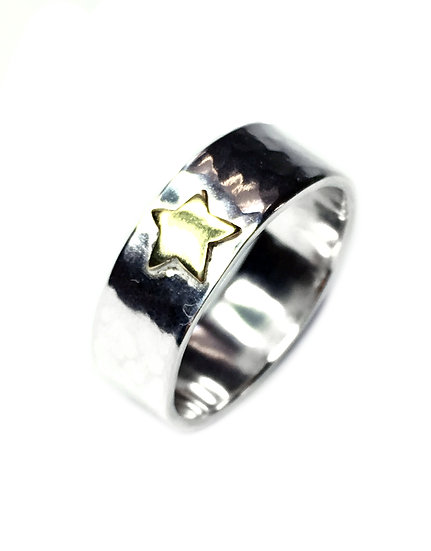 Brass and Silver Hammered Star Ring