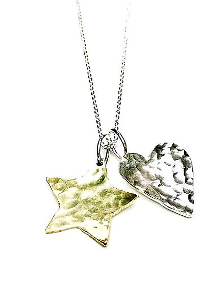 Star and Heart Duo Charm Pendant in Silver & Brass