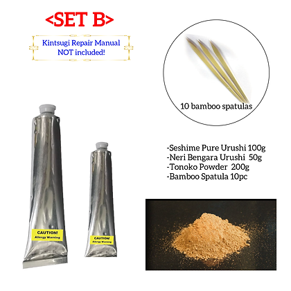 Authentic Kintsugi Repair Essentials- Urushi, Tonoko, Bamboo Spatulas
