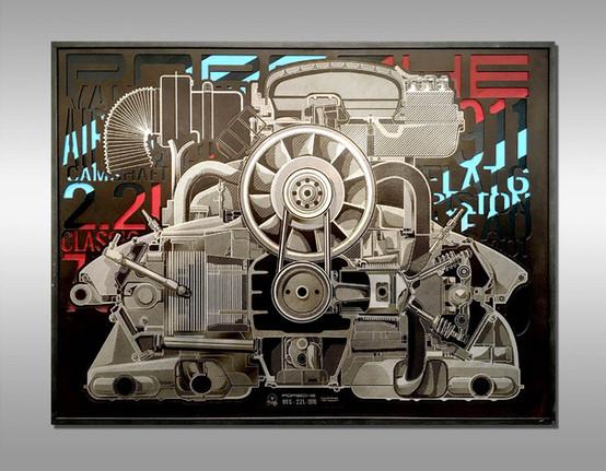 Gravure d'Art -Porsche Engine 2.4L 1972 - Cutaway