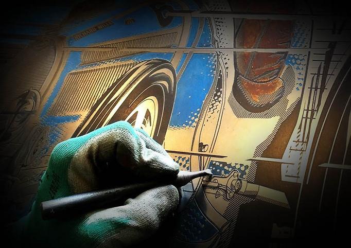 Travail de gravure & Colorisation fait main