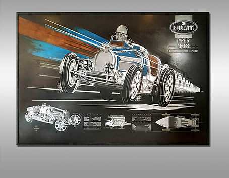 "Gravure ""Bespoke"" Bugatti type 51 - GP1932 -"
