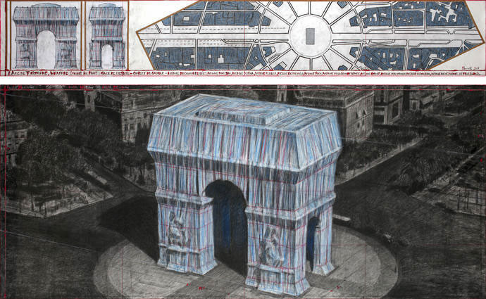 """Christo L'Arc de Triomphe, Wrapped (Project for Paris) Place de l'Etoile – Charles de Gaulle Drawing 2019 in two parts 15 x 96"""" and 42 x 96"""" (38 x 244 cm and 106.6 x 244 cm) Pencil, charcoal, pastel, wax crayon, enamel paint, architectural and topographic survey, hand-drawn map on vellum and tape Photo: André Grossmann © 2019 Christo"""