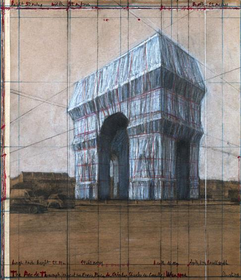 """Christo The Arc de Triumph (Project for Paris, Place de l'Etoile – Charles de Gaulle) Wrapped Drawing 2018 30 1/2 x 26 1/4"""" (77.5 x 66.7 cm) Pencil, charcoal, pastel, wax crayon, enamel paint and tape on brown board Photo: André Grossmann © 2018 Christo"""