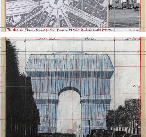 """Christo The Arc de Triumph (Project for Paris, Place de l'Etoile – Charles de Gaulle) Wrapped Collage 2018 in two parts 12 x 30 1/2"""" and 26 1/4 x 30 1/2"""" (30.5 x 77.5 cm and 66.7 x 77.5 cm) Pencil, charcoal, wax crayon, fabric, twine, enamel paint, photograph by Wolfgang Volz, hand-drawn map and tape Photo: André Grossmann © 2018 Christo"""