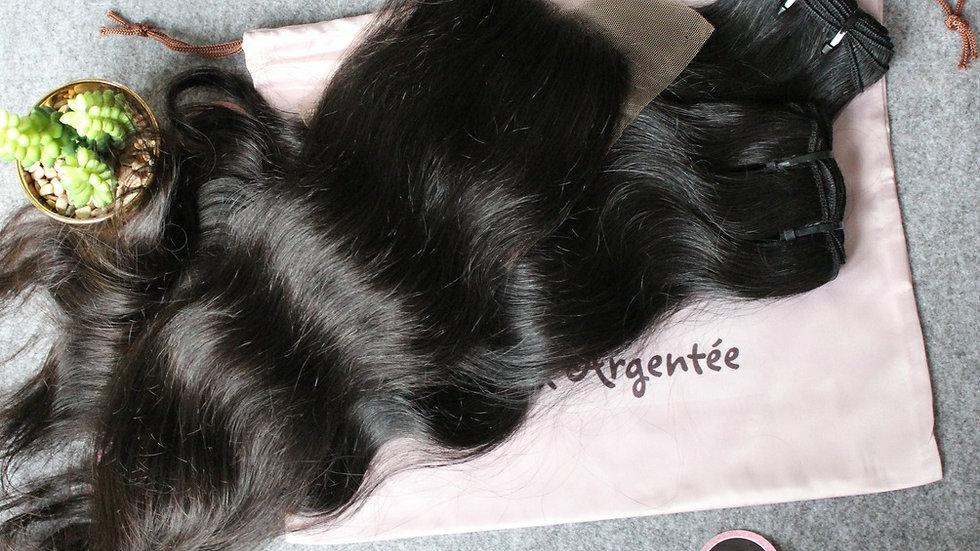 Lot de 2 tissages + 1 top closure Texture ondulée Raw Hair
