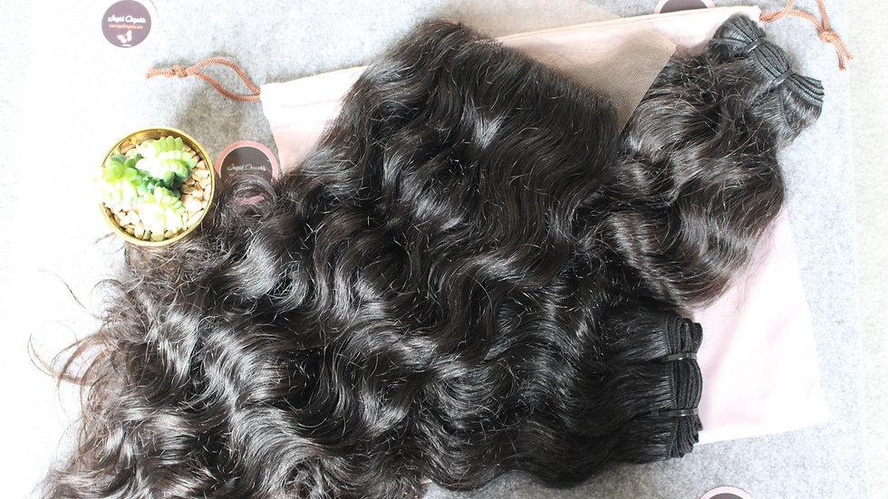 Lot de 2 tissages +1 top closure Texture bouclée Raw Hair