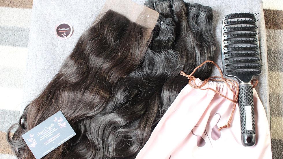 Lot de 3 tissages + top closure Texture Ondulée Raw Hair