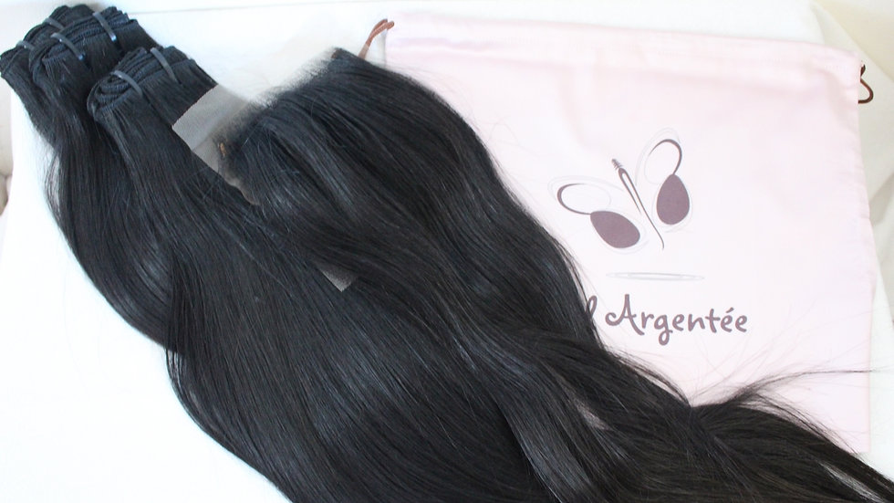 Lot de 3 tissages + top closure Texture lisse Raw Hair