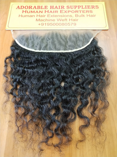 "13"" X 6"" Raw Indian Frontal Curly Hair"