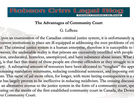 The Advantages of Community Court - G. LeBeau