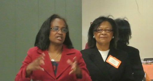 Sheryl Cole, then-Mayor Pro Tem greeted the members and thanked the Association for all that we do to enhance our Community. Ms. Cole is pictured with Vera Givens, President UHNA at the time.
