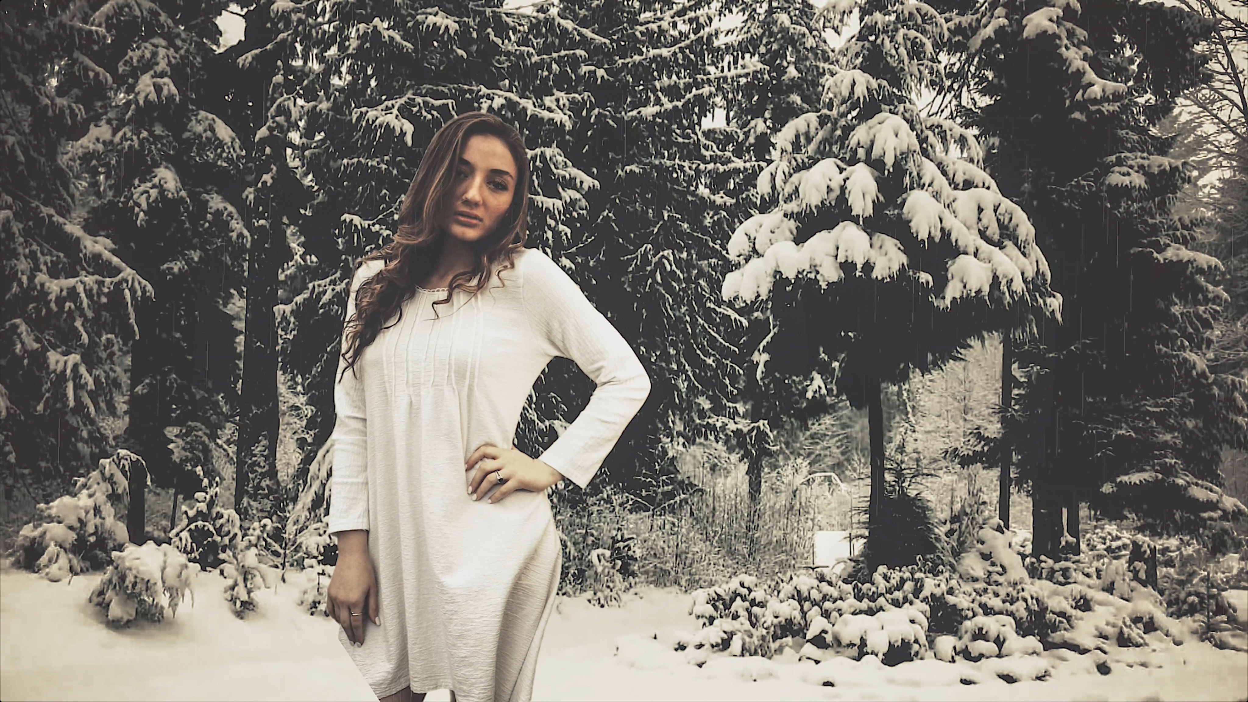 White Dress In Snow