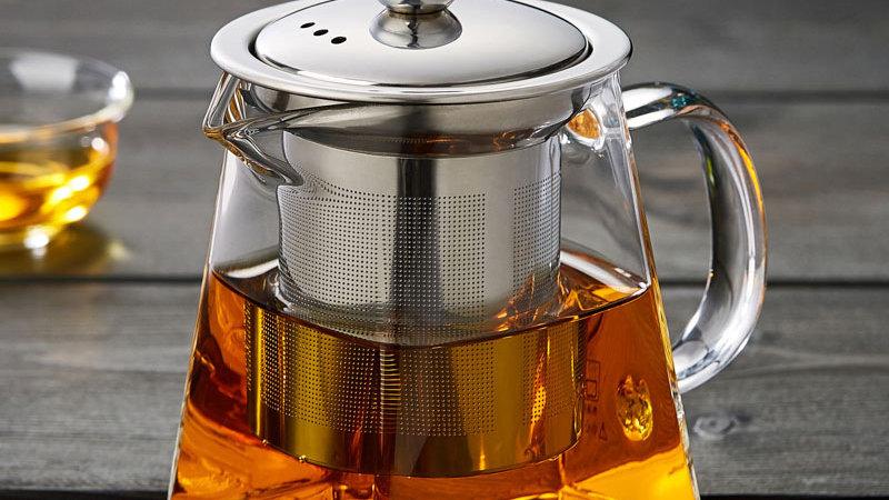 Glazen thee pot vierkant