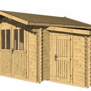 Log Cabin With Storage Annexe