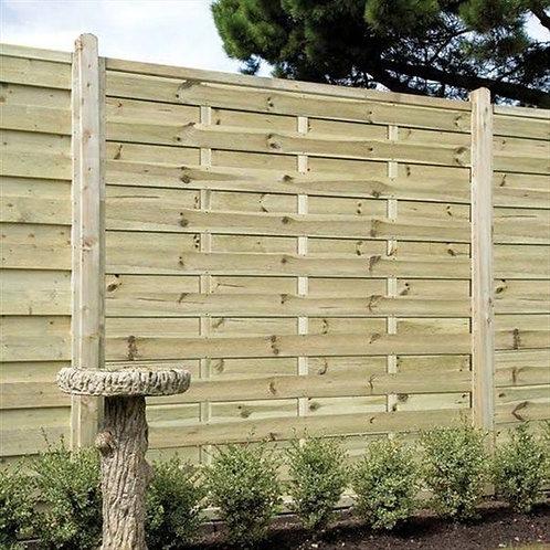 Horizontal Slatted Fence Panel - 6x6ft
