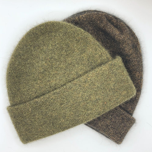Double layer beanie - Possum fur, merino & silk