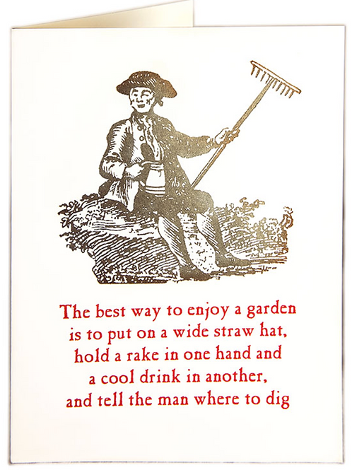 Man and Rake Greetings Card