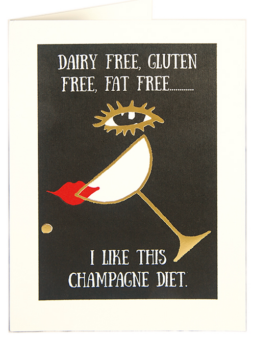 Champagne Diet Greetings Card