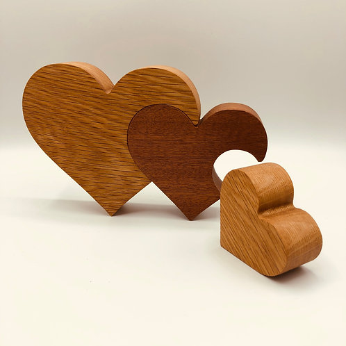 Handmade Oak Hearts
