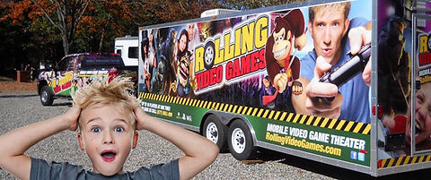 Graphic of Birthday Boy in front of Game Truck