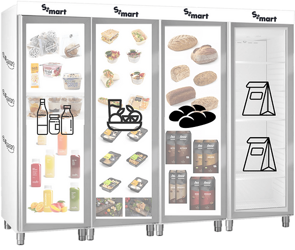 S:mart Minikantine - Four Fridge Setup: snacks & drinks, lunch & dinner, pastries & coffee, and pre-ordered meals