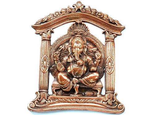 Ganesh Ji Seated on Throne 11 Inches Wall Door Hanging with Copper Finish