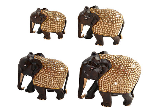 Majestic Royal Jewelled Set of 4 Elephants With Pave Crystal - Rose wood