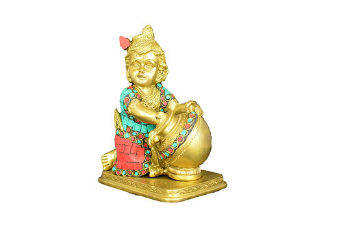 Lord Baby Krishna Brass Statue Decorated With Vividly Colorful Stones