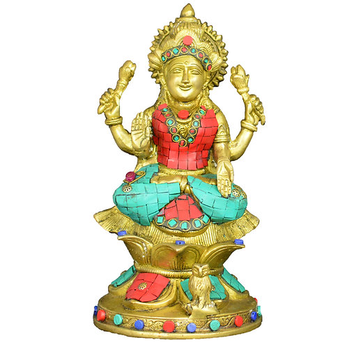 Exquisite Heavy Pure Brass Goddess Lakshmi Statue with Colorful Stones
