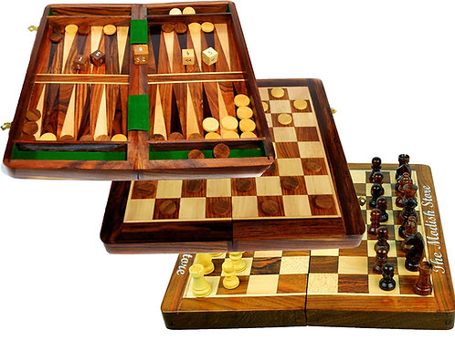 12 inches Magnetic Handcrafted Deluxe 3-in-1 Wooden Game Set - Chess, Checkers a
